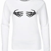 Skeleton Hands Womens Fitted Long Sleeve Tee