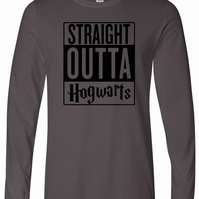 Straight Outta Hogwarts Mens Long Sleeve Tee