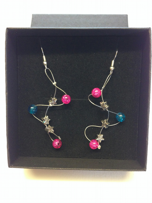 Pink and blue wave style earrings