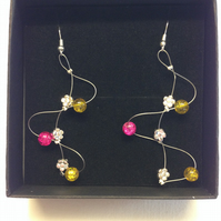 Yellow and pink wave style earrings