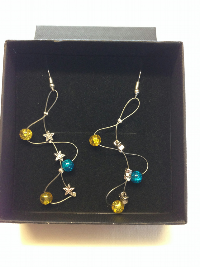 Yellow and blue wave style earrings