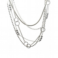 Multi Strand Silver Necklace