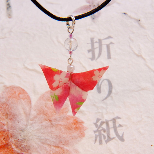 Passion Pink Origami Butterfly Choker