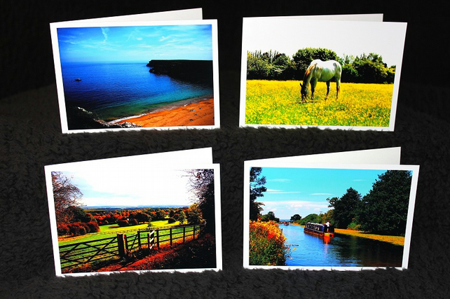 Calm & Scenic Pack of 4 Greeting Cards or Notelets