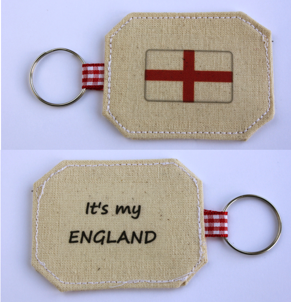 "Cotton Keyring with the caption ""It's my ENGLAND"""