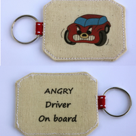 ANGRY Driver On Board Cotton Keyring