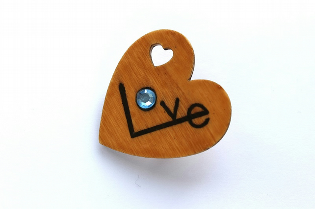 Wooden Big Love Heart Brooch