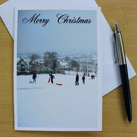 Playing In The Snow pack of 4 Christmas Cards or Notelets