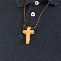 Cucifix or Cross Pendant Wood Necklace