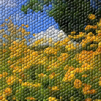 Yellow Wildflowers A4 Digital Art Print in Mosaic Style