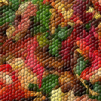 Autumn Leaves A4 Digital Art Print in Mosaic Style