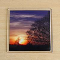 Winter Sunset (Single Drinks Coaster)