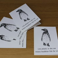 Penguin Greeting Cards or Notelets, pack of 4