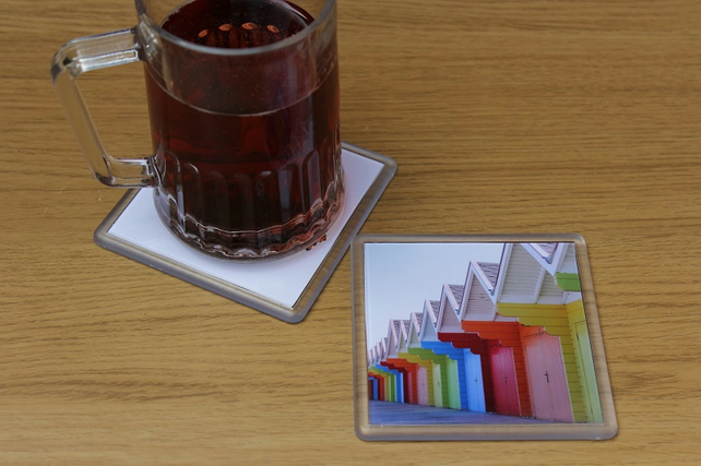 Colourful Beach Huts (Single Drinks Coaster)