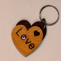Double Heart Shaped Wooden Keyring
