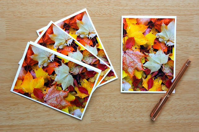 Autumn Leaves Greeting Cards or Notelets, pack of 4