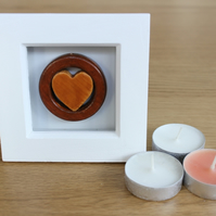Framed Wooden Handmade Valentine 'Heart In A Ring'