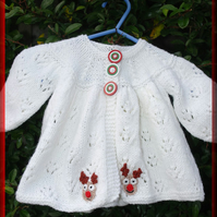 Hand Knitted Baby Matinee Jacket - Birth to Three Months, Very Sweet, Christmas