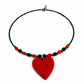 Polymer Clay Red Love Heart Beaded Neclace, with Black, Red and Silver Spacers