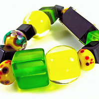 Beaded Bracelet, Yellow, Black, Recycled Green Glass, Beautiful  Glass Lampwork