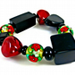 Christmas Beaded Bracelet, Italian Red Beads, Rose Coloured Beads
