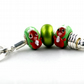 Christmas Key Rings -- Red and Green Designs, Christmas Beads and Charms