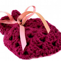 Hand Knitted Lavender Bag, Purple, Ideal Christmas Stocking Filler