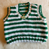 Hand-knitted racing-green and white striped tank top, 12-18 months