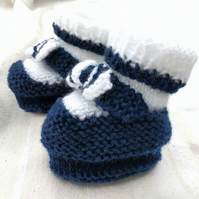 Handmade navy and white knitted baby booties 0-12 months