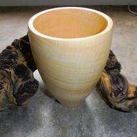 809 Wooden Vase turned from Rippled Ash