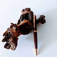 Ballpoint Pen made from Night Fire Colour Grain Wood 122