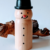 926 Snowman with Bowler Hat made from Maple