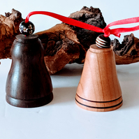 927  Wooden Bell Christmas Tree Decorations made from Rosewood and Cherry