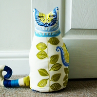 Hand Embroidered Blue, Green & Cream Cat Doorstop; Handmade  Fabric Cat Bookend