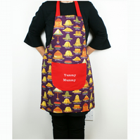 Personalised Embroidered Cooks Apron; Dessert Pattern Handmade Kitchen Apron