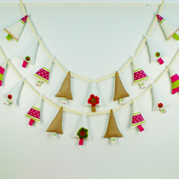 Appliqued Christmas Tree Garland; Handmade Fabric Christmas Bunting