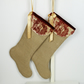 Luxurious Hessian Christmas Stocking w. 'Old English' Cherub Print Velvet Collar