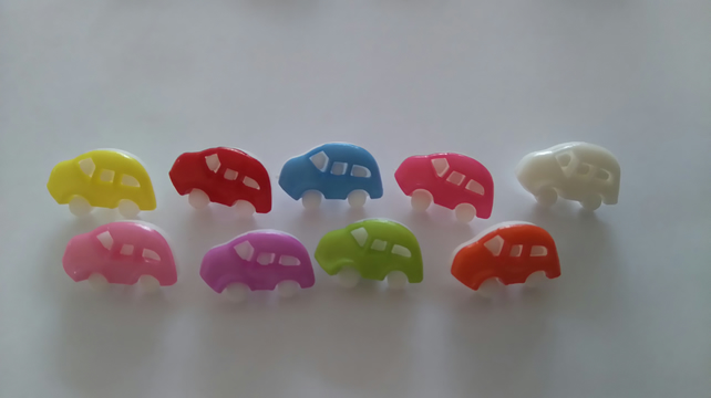 10  CAR SHAPED BUTTONS Blue
