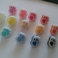 6 small paw print shaped buttons sewing crafting