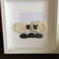 Sheep picture made from merino wool and pebbles from the Isle of Bute.