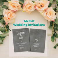A6 double sided flat personalised wedding invitations