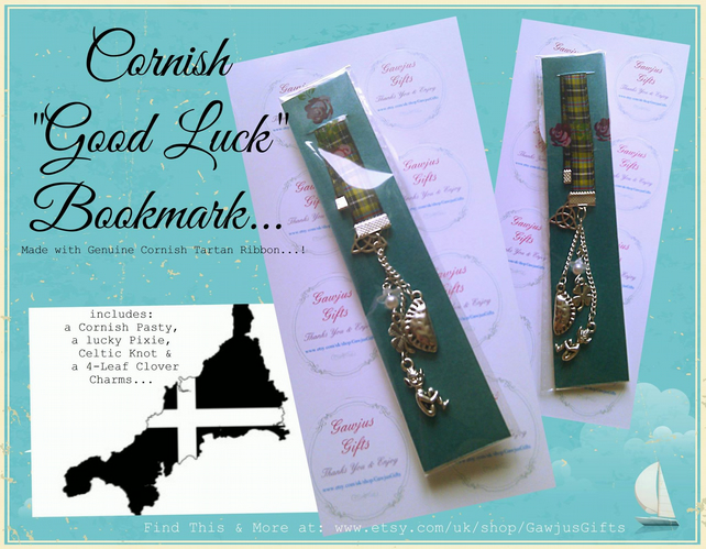 Cornish 'Good Luck' Bookmark