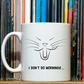 Cat Yawning mug, 'I Don't Do Mornings' mug, 10 OZ mug, vector art, handmade mug