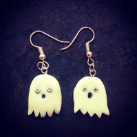 Spooky polymer halloween ghost earrings glow in the dark.