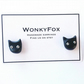black cat halloween polymer earrings studs
