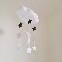Baby Mobile - Cloud, moon and stars in grey and white