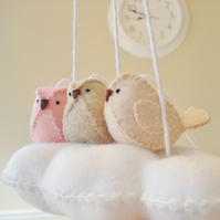 Baby Mobile - Cloud and 3 birds in blush pink, peach and beige