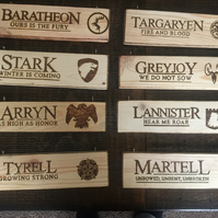 8 Handcrafted Game of Thrones signs