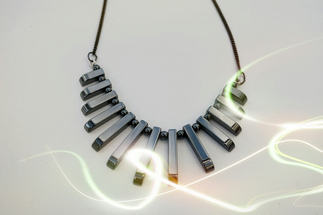 Hematite Fan Necklace