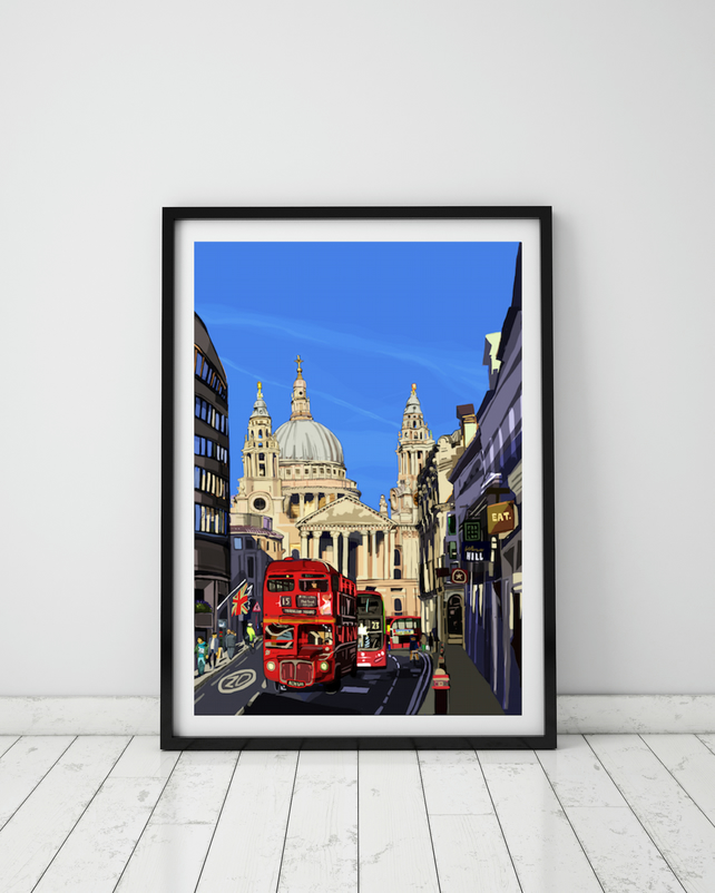 St Paul's Cathedral, London, A4 Art Print